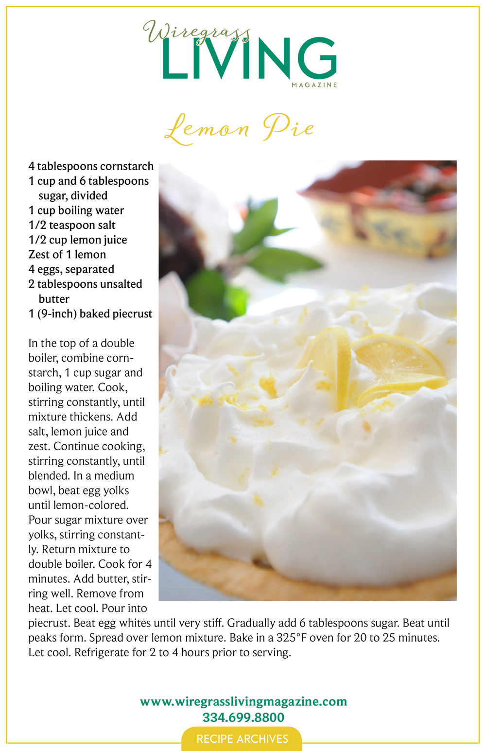 Lemon Pie, Wiregrass Living Magazine