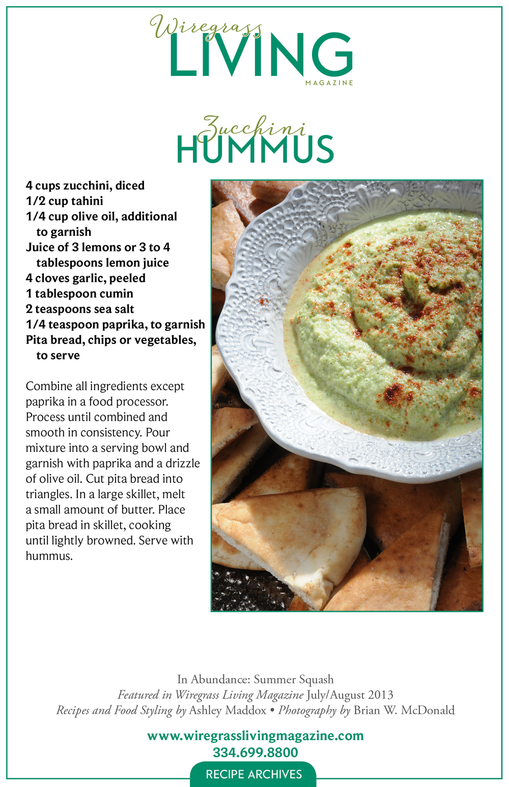 Zucchini Hummus, Wiregrass Living Magazine