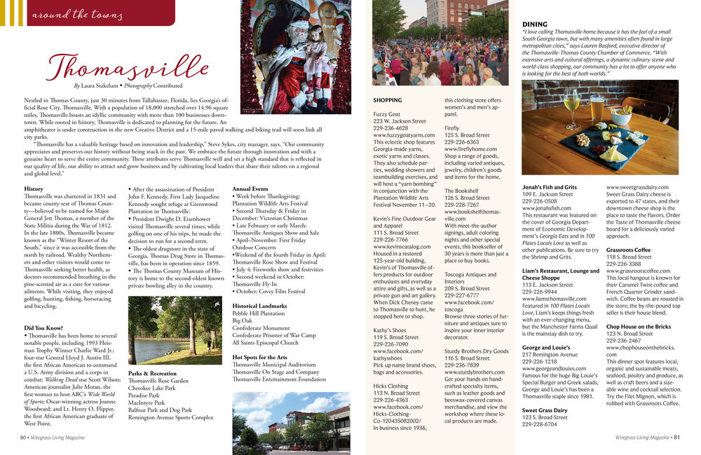 Around The Towns, Wiregrass Living Magazine, November/December 2016