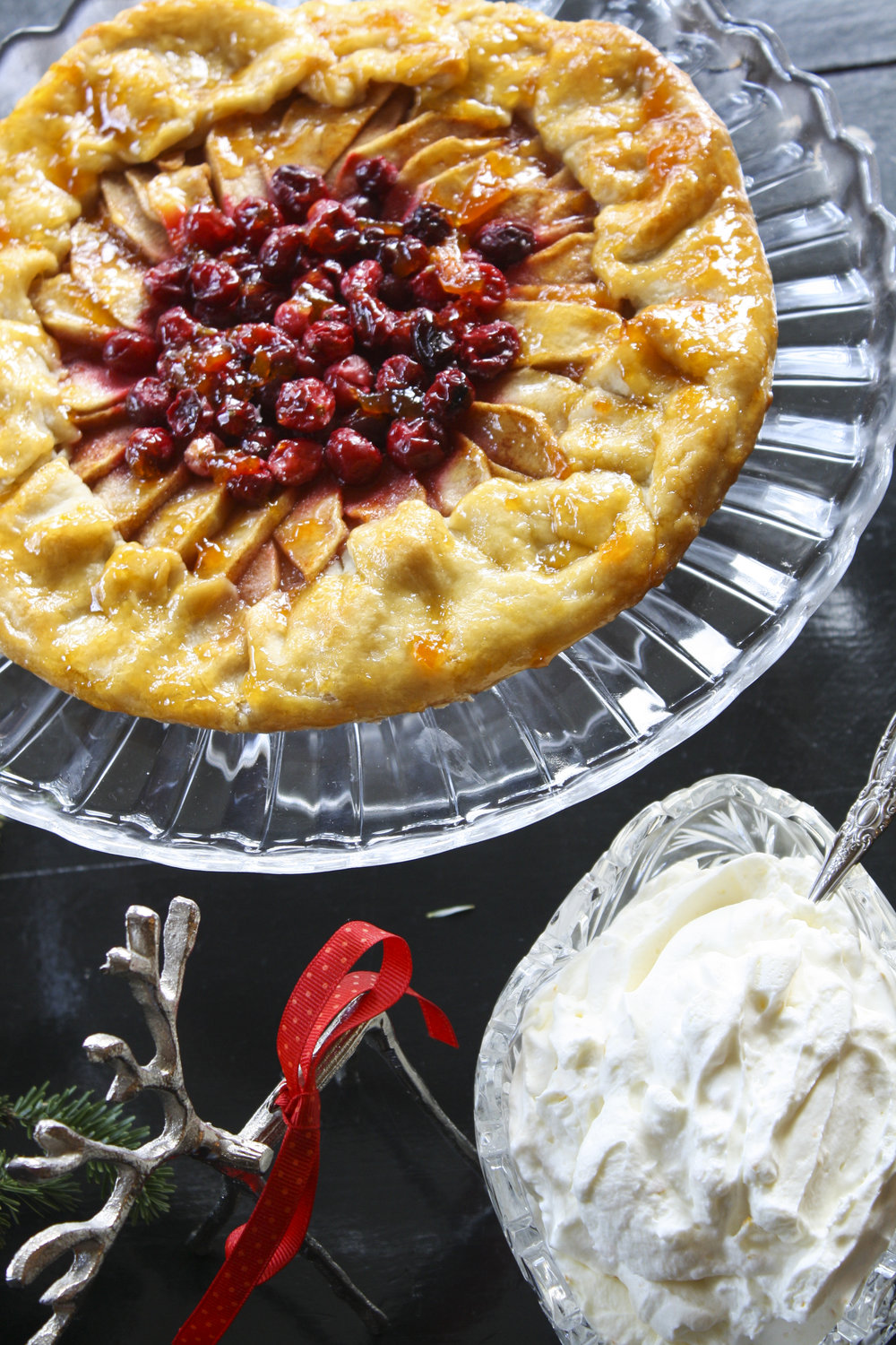 Cranberry-Apple Tart with Orange Whipped Cream