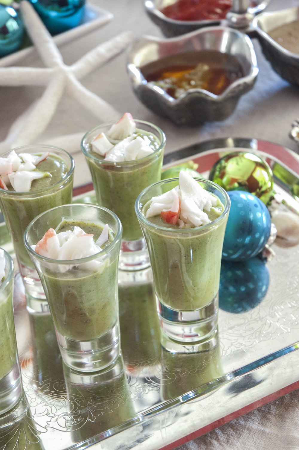 Chilled Avocado Soup Shooters with Fresh Crab
