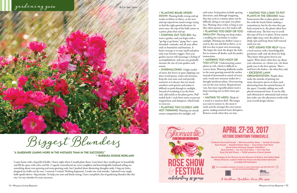 Gardening Guru,  Wiregrass Living Magazine , March/April 2017