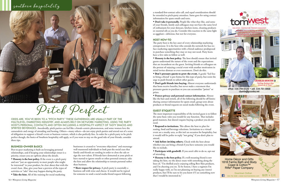 Southern Hospitality,  Wiregrass Living Magazine , March/April 2017