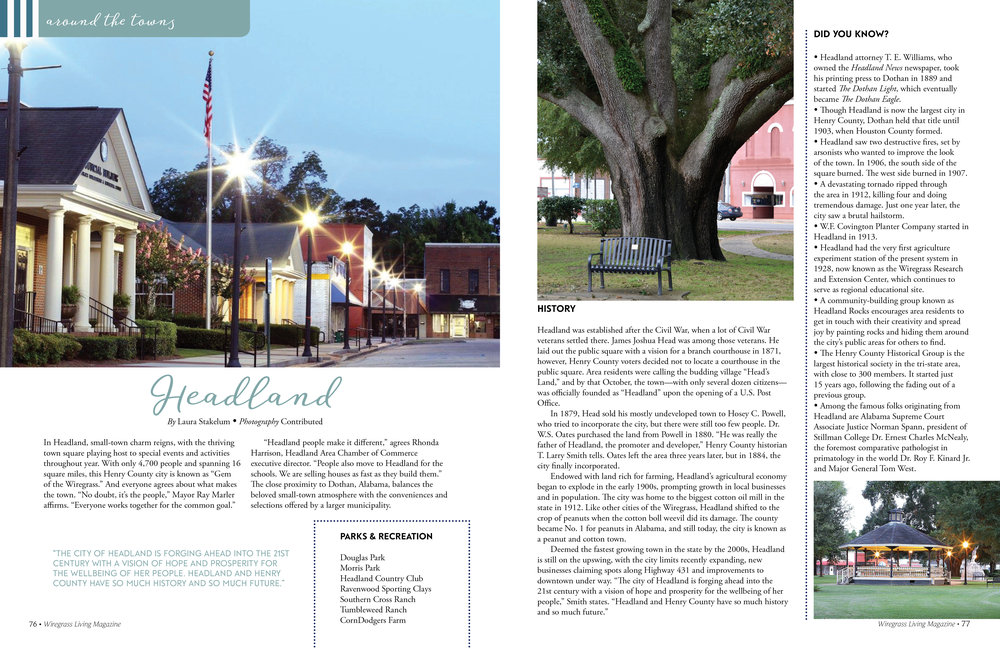 Around The Towns, Wiregrass Living Magazine, March/April 2017