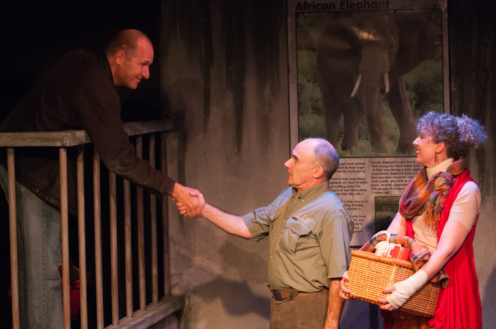Brian Jensen, David LeReaney and Barbara Gates Wilson in The Life History of the African Elephant at Lunchbox Theatre, 2014/2015 season. Photo by Benjamin Laird