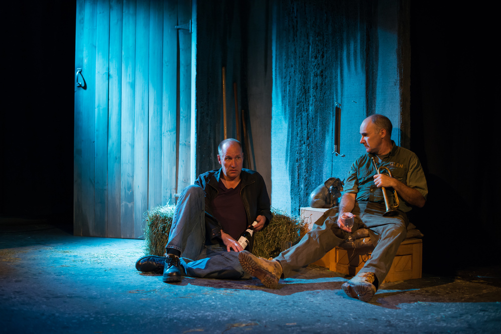 Brian Jensen and David LeReaney in The Life History of the African Elephant at Lunchbox Theatre, 2014/2015 season. Photo by Benjamin Laird