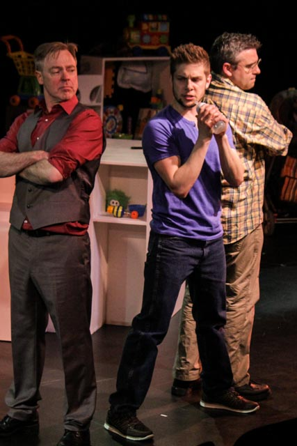 Doug McKeag, Eric Wigston and JP Thibodeau in Dads in Bondage. Photo by Nicole Zylstra
