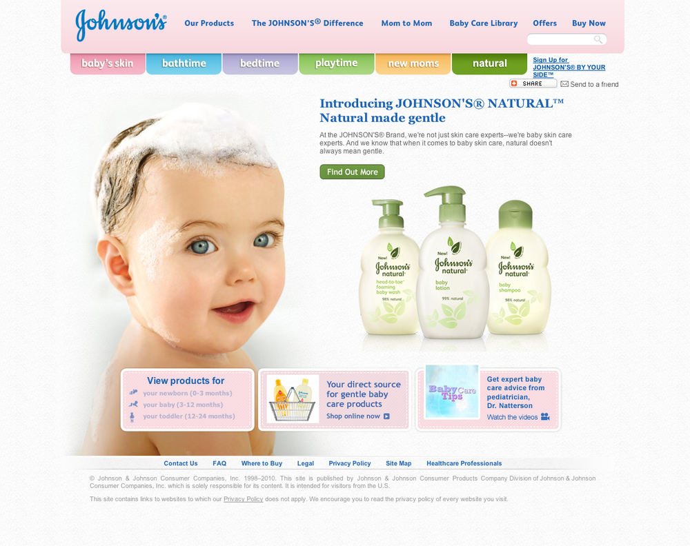 Johnson's Baby Site Redesign