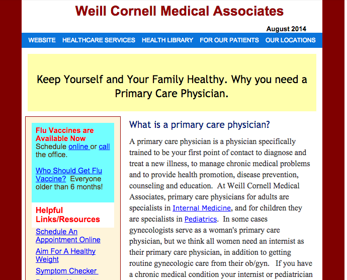 The message that this perfunctory email actually sends is how little Weill Cornell cares about me and my family's health.