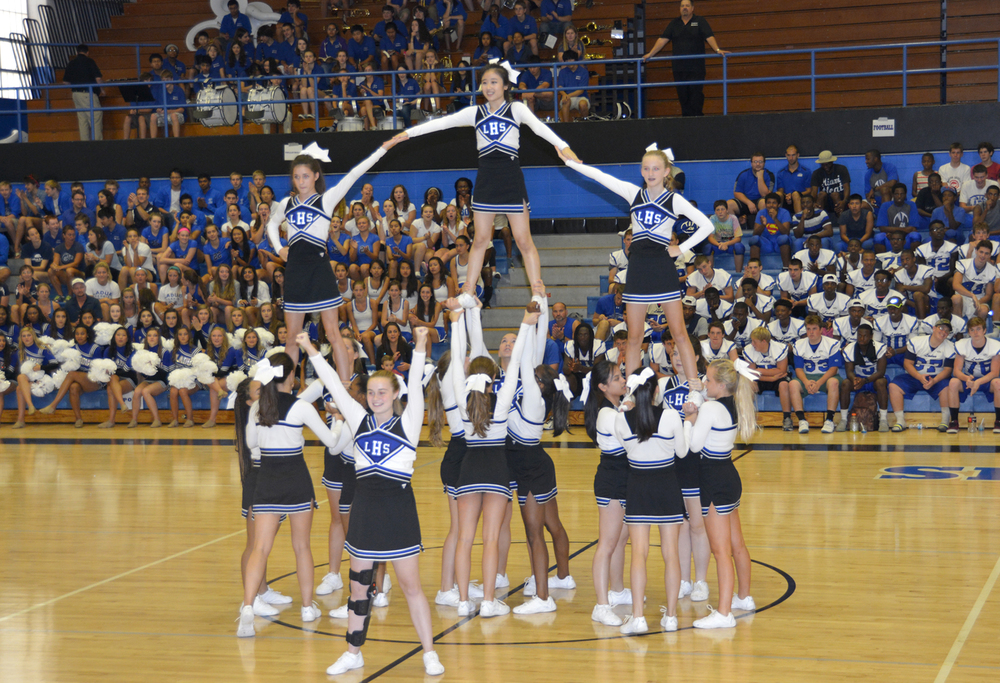 The Junior Varsity Cheerleaders showing their stuff! at Blue-White Night 2014.