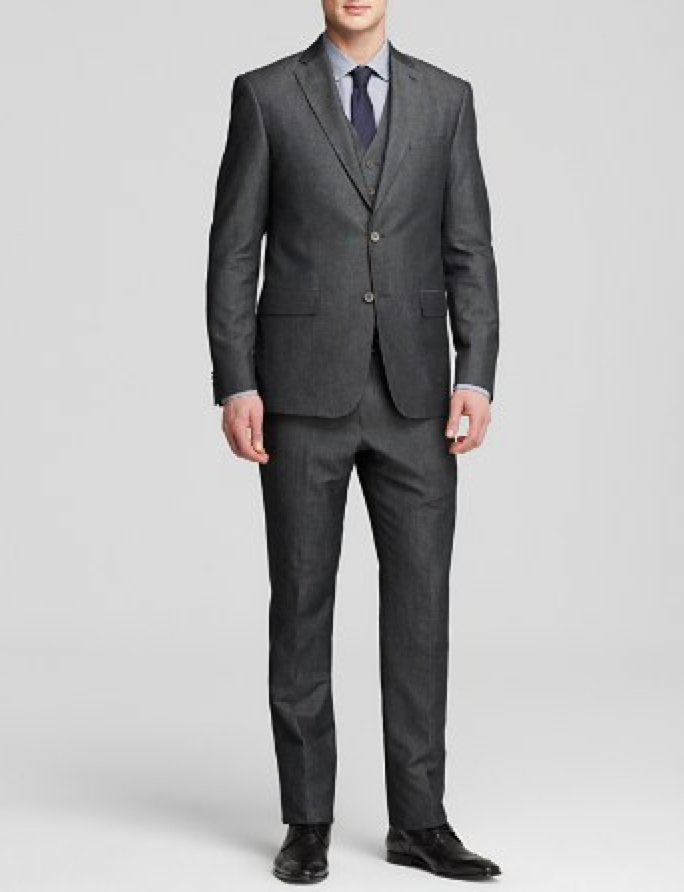 John Varvatos chambray three-piece