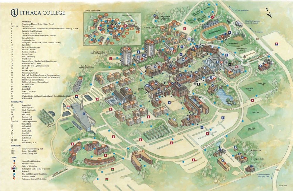 Map of Ithaca College's campus. The Handwerker Gallery is #17