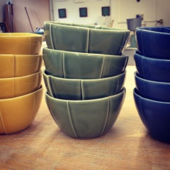 Stacked bowls, custom order for a colorful kitchen, 2014