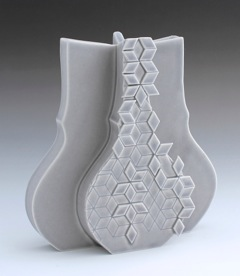 UMBRA Vase, 2015 Slip cast porcelain, appliqué, modular mold system Featured in the 65th Rochester-  Finger Lakes Exhibition, July 26-September 13, 2015 at the Memorial Art Gallery, Rochester, NY