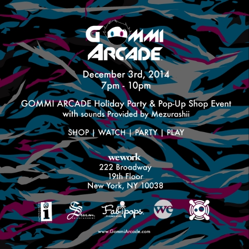 You are invited to the GOMMI ARCADE Holiday Pop-Up Office Party at WeWork on December 3rd, from 7 pm to 10 pm. Be sure to stop by to see our Holiday Exclusive Collaboration -  'Mr. Flawless x GOMMI ARCADE' special edition offering - as well as original artwork: drawings, paintings, preliminary character and background sketches, storyboards, electronics, 3D toy models and meet the team! Win special prizes throughout the night by posting #GommiHoliday to party pictures on Instagram. RSVP to gommi@gommiarcade.com