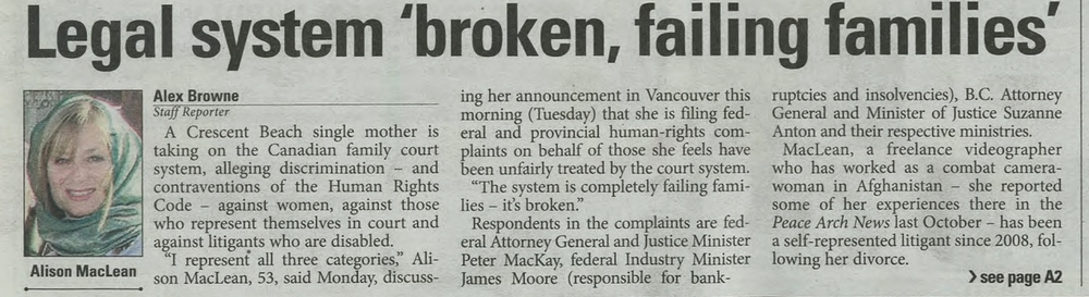 The Peace Arch News Article on Family Law (Link Below)