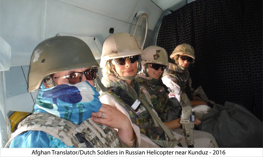Dutch Soldiers and Afghan Translator enroute to Camp Shaheen near Kunduz. 2017. A. MacLean