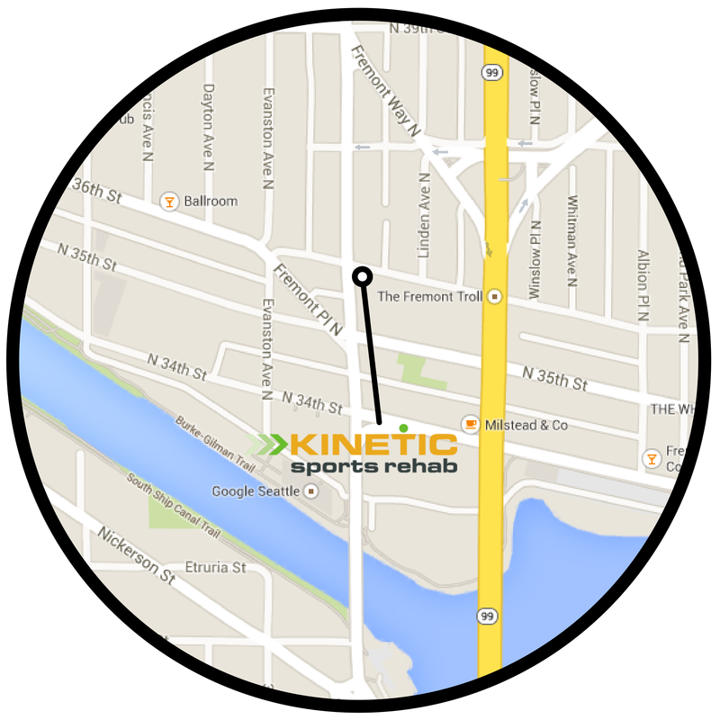 map of kinetic sports rehab's fremont clinic in seattle