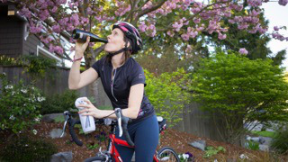 Jill knows how to stay hydrated on a bike tour through wine country...