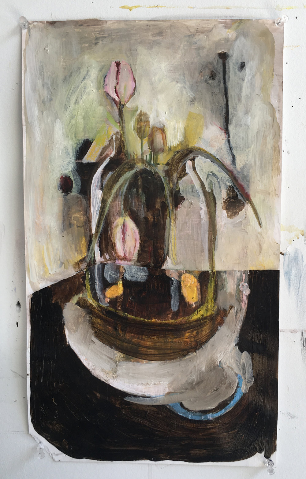 Tulips with Cyan Feelings    Oil, acrylic and inkjet print on paper /  9x12   2018