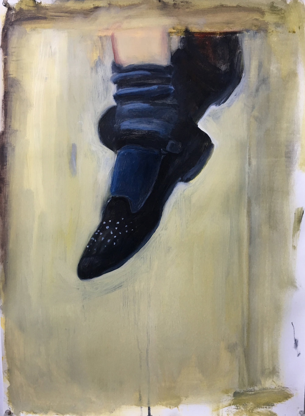Cassis' Shoes (The Story Never Ended Here)   Oil with inkjet print collage elements on heavyweight watercolor paper  22x30