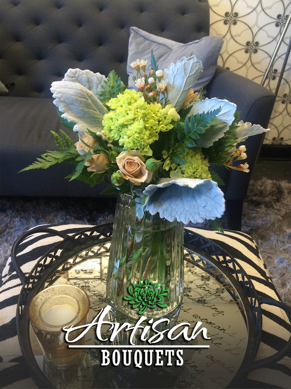 Hand-tied artisan bouquets now available at Geny's Flowers. Selection will vary depending on flower inventory. All bouquets are $25.00 w/ vase or $20.00 without. Quantities limited.