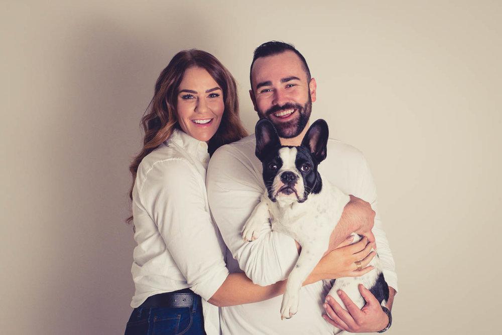 family photoshoot with dog