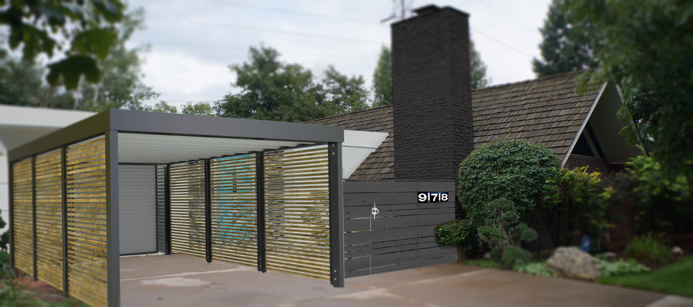 SLATTED CARPORT AND ENTRY GATE WITH STAR KNOB AND EICHLER NUMBERS!