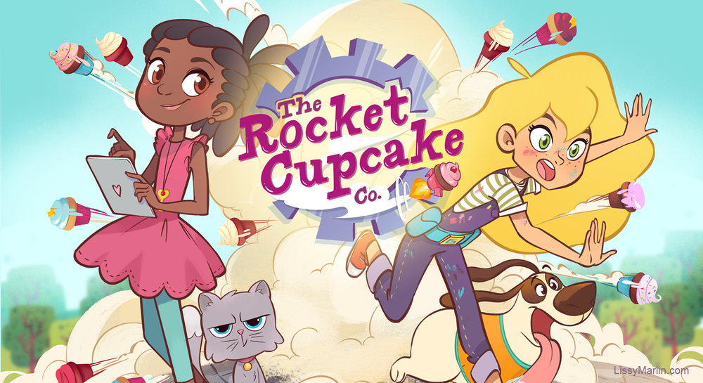 Rocket Cupcake Co. © GoldieBlox                    Illustration by Lissy Marlin                       Rocket Cupcake Co. Logo by Brittany England
