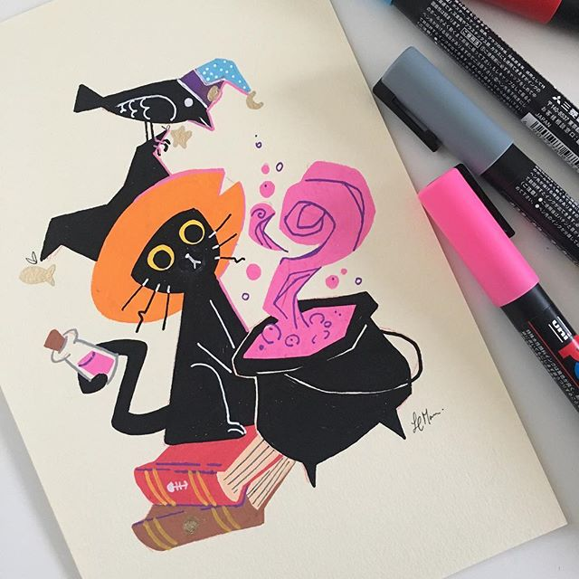 Have been dying to try posca markers for a while, I really like them! Totally recommend it to those that love bold graphic styles and colors that pop. #posca