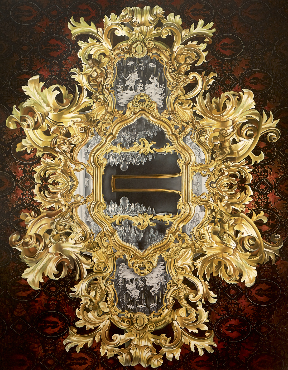"THE VOLUPTUOUS HORROR OF METAPHOR  66 x 52 inches, Oil on Canvas, 2011     A hyper-realistic mirrored world collides with the distorted reflections of temptation. Echoes of riches glistening, this heavily gilded Rococo frame holds all the decadence of mortality wasted; a mirror of lies, with no true reflection.  This vacancy can signify death, but it can also signal the need for a profound shift in priorities, the transitioning into a more fully formed sense of the self, a self view not dictated by the reflection of others, rather, a self realization generated from within.            /* Style Definitions */ table.MsoNormalTable 	{mso-style-name:""Table Normal""; 	mso-tstyle-rowband-size:0; 	mso-tstyle-colband-size:0; 	mso-style-noshow:yes; 	mso-style-parent:""""; 	mso-padding-alt:0in 5.4pt 0in 5.4pt; 	mso-para-margin:0in; 	mso-para-margin-bottom:.0001pt; 	mso-pagination:widow-orphan; 	font-size:12.0pt; 	font-family:""Times New Roman""; 	mso-ascii-font-family:Cambria; 	mso-ascii-theme-font:minor-latin; 	mso-fareast-font-family:""Times New Roman""; 	mso-fareast-theme-font:minor-fareast; 	mso-hansi-font-family:Cambria; 	mso-hansi-theme-font:minor-latin; 	mso-bidi-font-family:""Times New Roman""; 	mso-bidi-theme-font:minor-bidi;}"