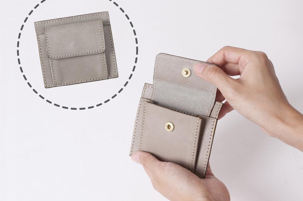 平摺零錢袋 - 經典零錢袋身,底部與皮夾縫合,袋身較為扁平,可容納零錢較少,適合喜歡輕薄手感的你/妳。
