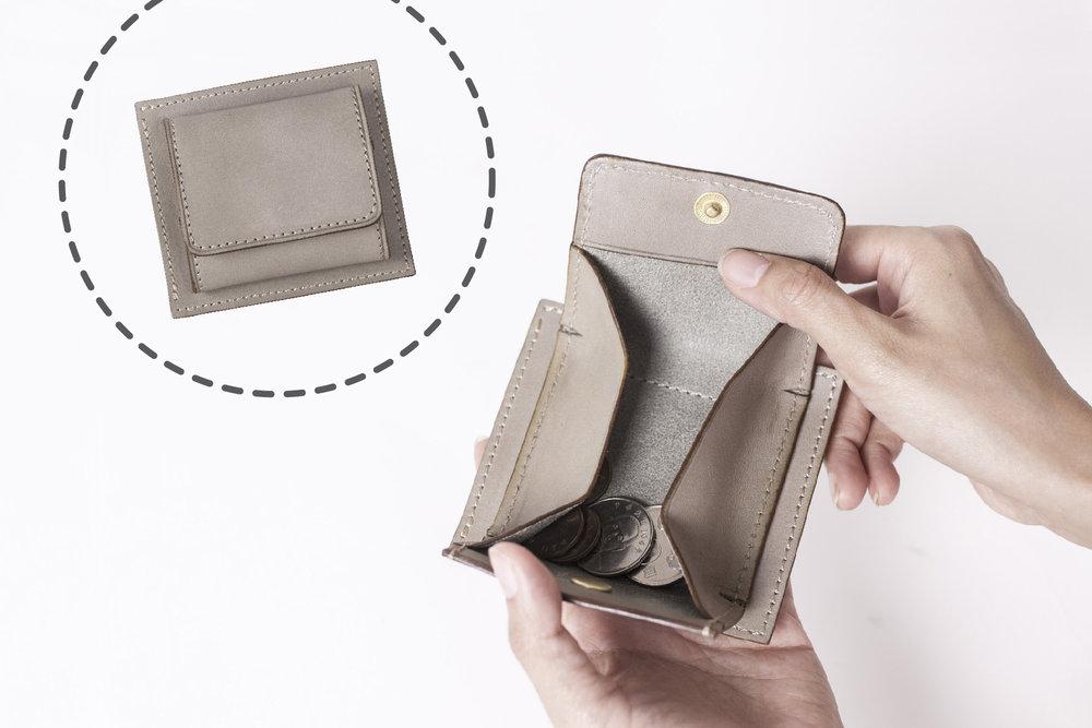 立體零錢袋 - 袋身可全部攤開,具強大零錢收納功能,手感非常厚實。