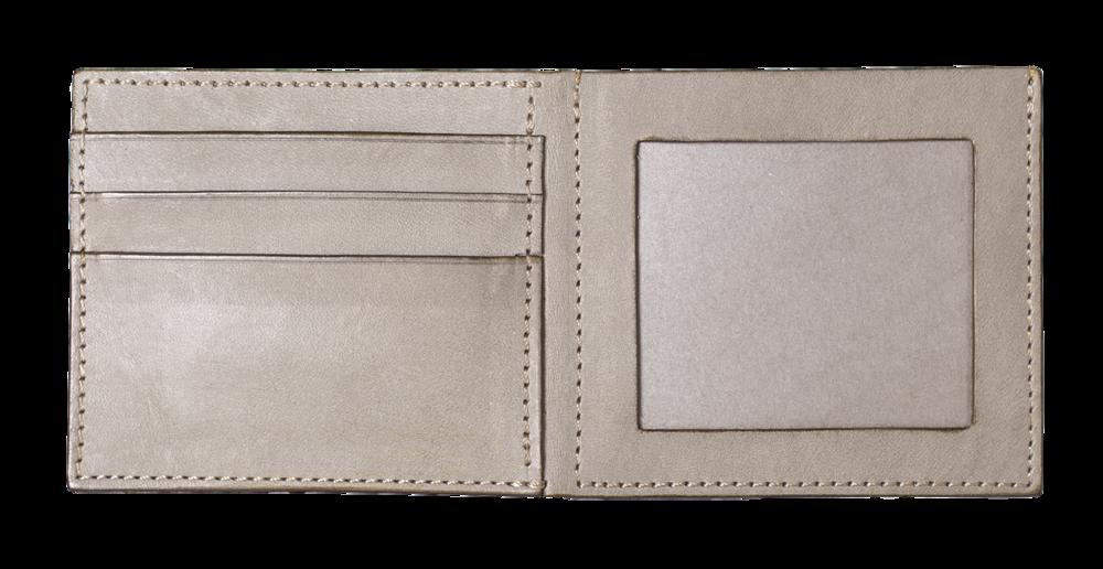 短夾左側:加購相片層 - 左側除了原卡片夾層外,可加購雙面相片夾層。*如需加購,請於報名表單備註欄上註記即可。