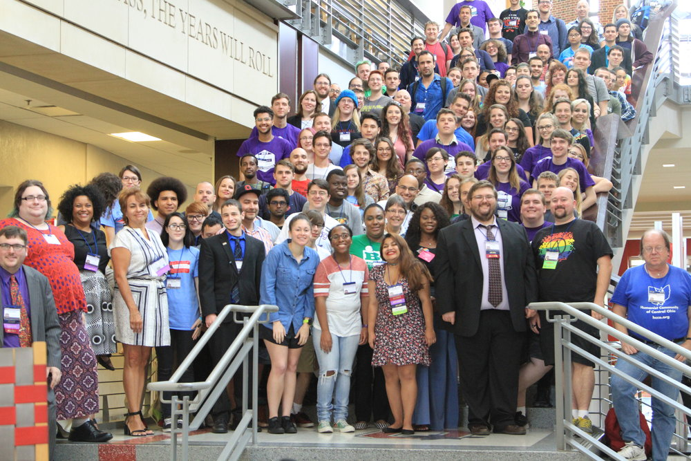 SSA Con attendees pose for their annual staircase photo
