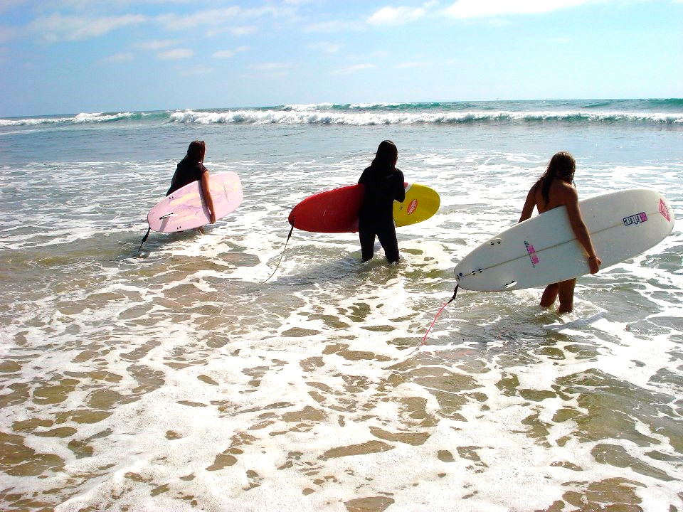 paddling out at trestles for a fun session! All surfing levels are accommodated -- you'll start surfing better right away!