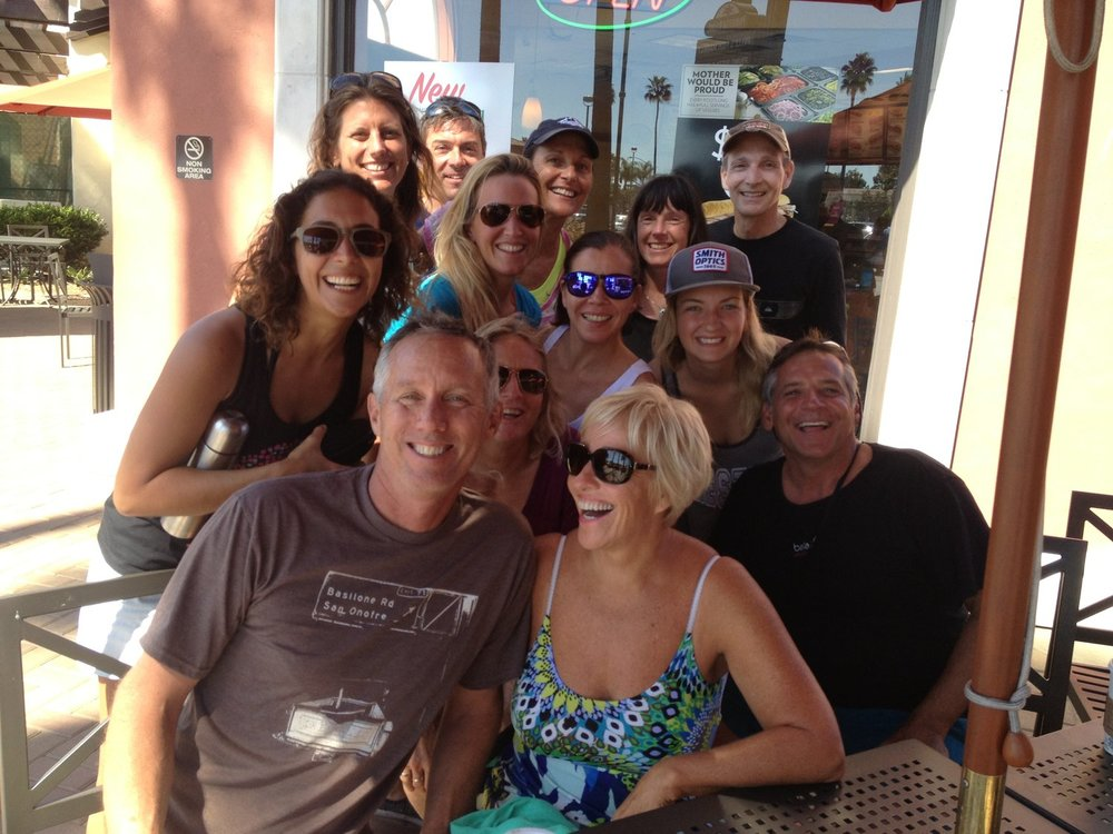 we always go out to enjoy lunch together after a morning of Yoga + surfing!