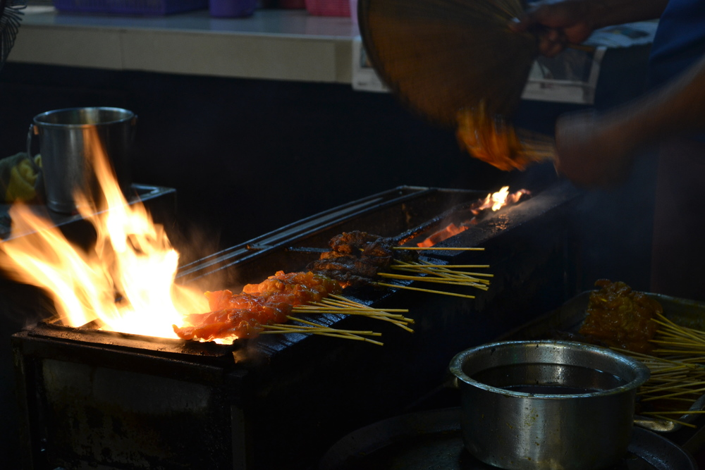 Satay over a charcoal open fire. Wish we could do this back at the restaurant, but we don't have the space.