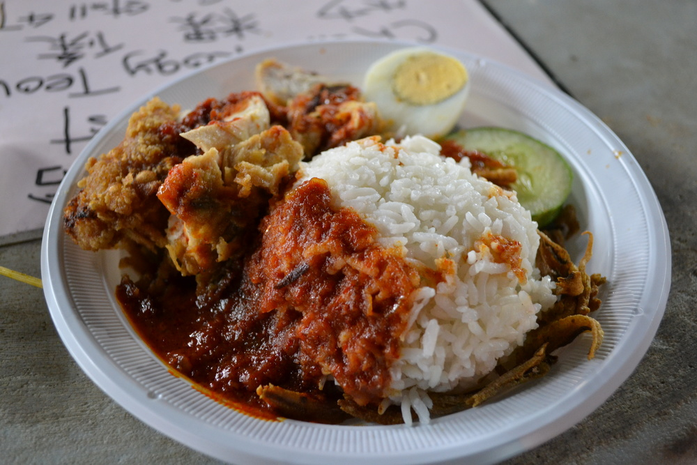 Even with a plastic white plate. Nasi lemak is a beautiful thing.