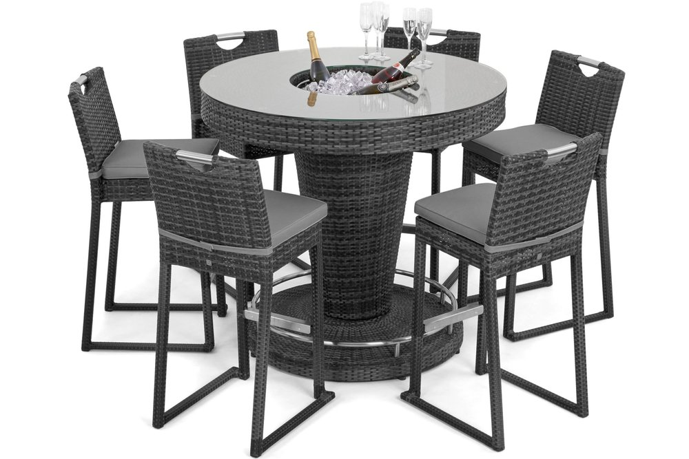 6 Seat Round Bar Set With Ice Bucket Grey Flat Weave White Out (1)