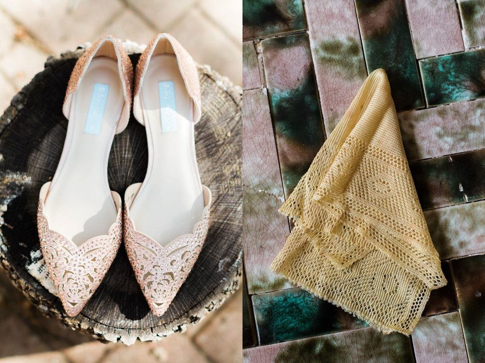 bride's shoes and heirloom handkerchief