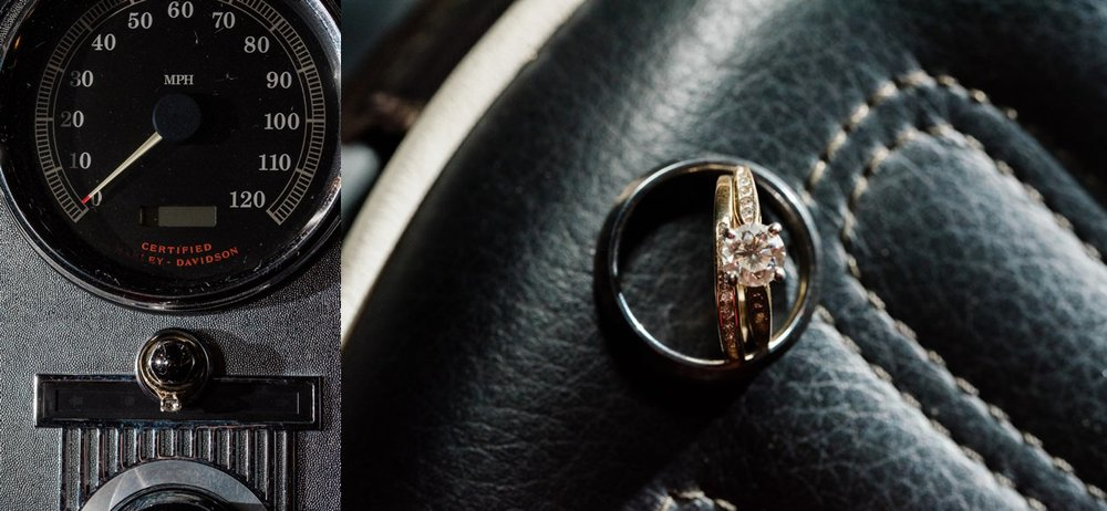 wedding rings on vintage motorcycle