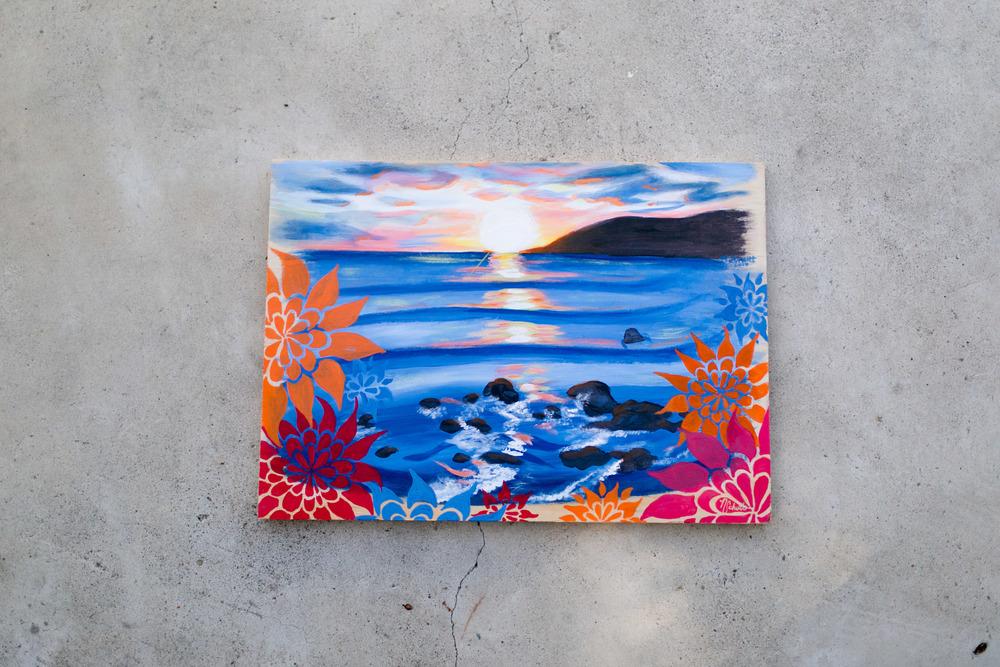 """""""flowery avila beach""""- acrylic on wood, 17.5"""" x 12.5"""" - $100.00"""