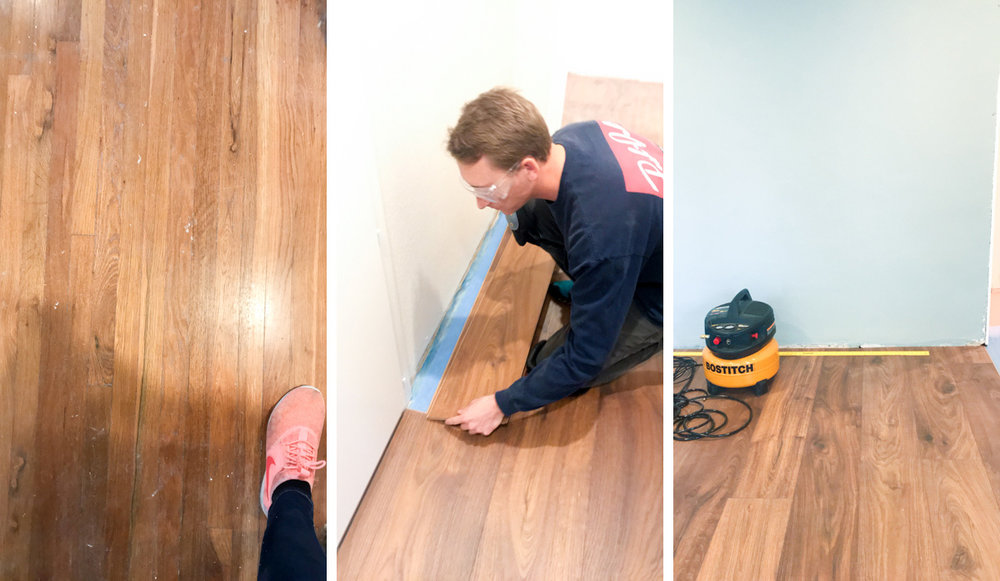 1. Original Hardwood from 1950     2. Matt laying our new laminate     3. The final result, baby!