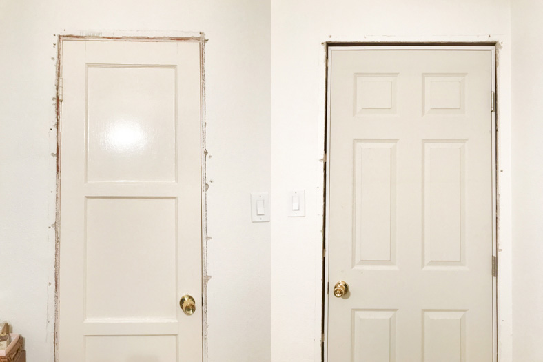 Old closet & room doors = 3 panels & heavy        New closet & room doors = 4 panels & light