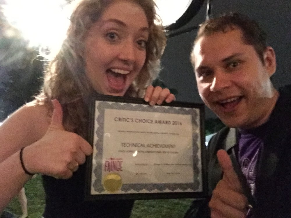 we got a critics choice award for technical achievement. with brenna arden. may 2016