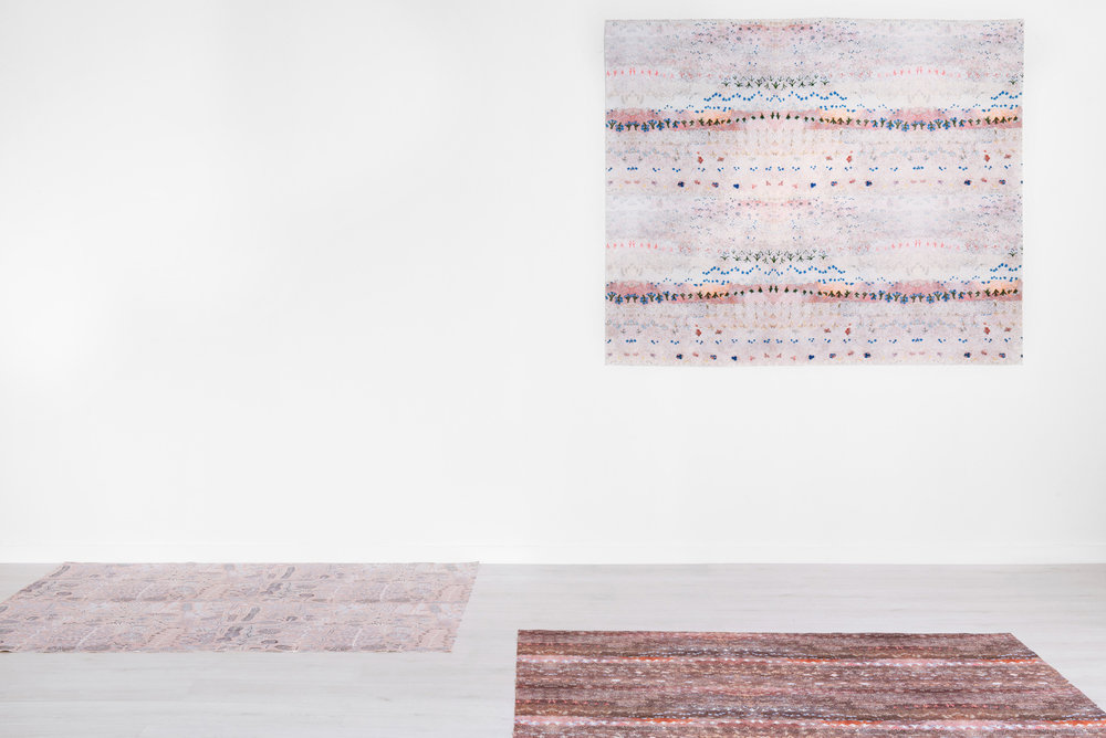 Colleen Ngwarraye Morton's Singing Bush Medicine in 'Day Break' [wall] and 'Dusk' [floor, right] and Rosie Ngwarraye Morton's Sugarbag Dreaming in 'Desert Rose' [floor, left].
