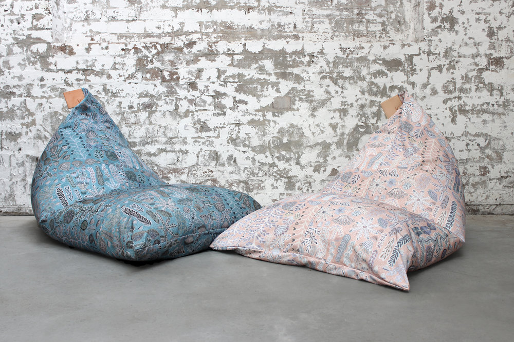 Willie Weston x Koskela Indoor / Outdoor Beanbags, featuring Rosie Ngwarraye Ross'  Sugarbag Dreaming  in 'Saltbush' and 'Desert Rose'.