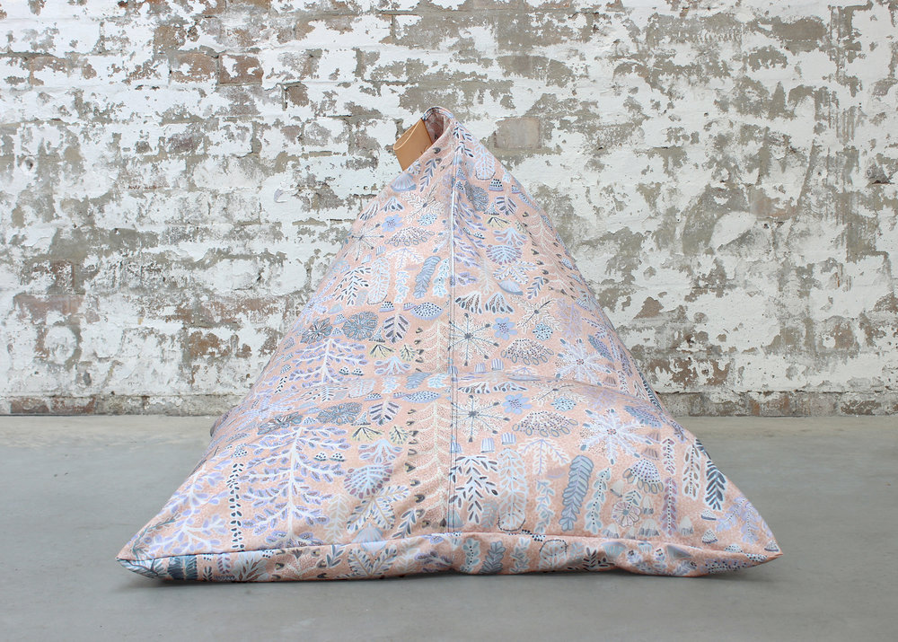 Willie Weston x Koskela Indoor / Outdoor Beanbag, featuring Rosie Ngwarraye Ross'  Sugarbag Dreaming  in 'Desert Rose'.