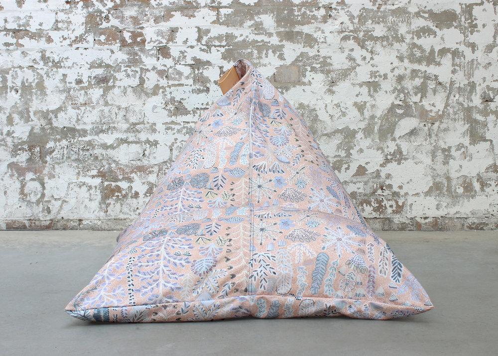 Willie Weston x Koskela Indoor / Outdoor beanbag featuring Rosie Ngwarraye Ross' Sugarbag Dreaming in 'Desert Rose'. Photo: Koskela.
